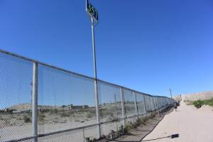 The border fence in Sunland, New Mexico.
